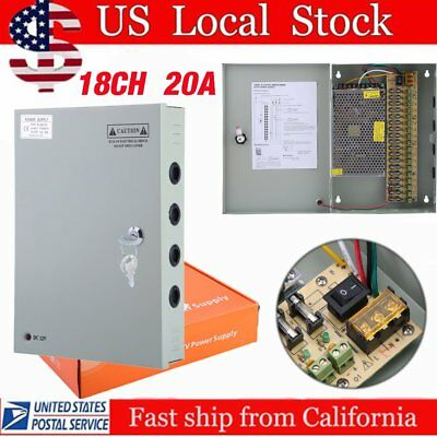 18CH Security Camera Power Supply Switch Box DC 12V 20A CCTV Distribution NEW VP