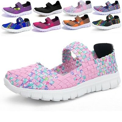 Women's Slip On Walking Shoes Woven Stretch Mesh Flat Breathable Handmade Newest