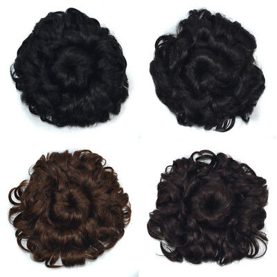 Women Fluffy Curly Wavy Synthetic Chignon with Drawstring Clip in Hair Extension