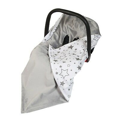 New Baby Car Seat Wrap / Travel Wrap / Blanket - grey + white & grey galaxy star