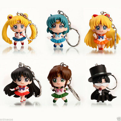 6pcs Sailor Moon Anime Keychain keyring Action figures PVC Gift Toys NEW