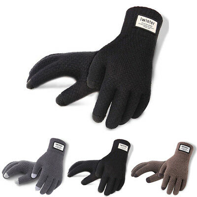 Mens Thermal Gloves Black Gloves Knitted Winter Gloves Soft Warm Mittens AU Sell