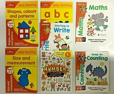 Home Early Learning Pre School set of 6 Workbooks Maths English Phonics Age 3- 5
