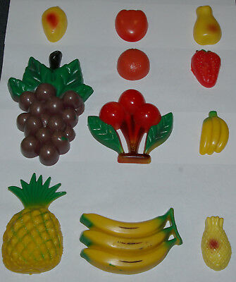 Vintage Fruit Magnets Fridge Kitchen Lot of 11 Pieces