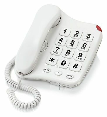 Simple Value Big Button Corded White Telephone - Single
