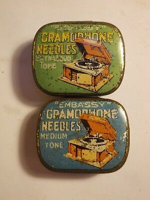2 Old EMBASSY Gramophone Picture Needle Tins with Content. G
