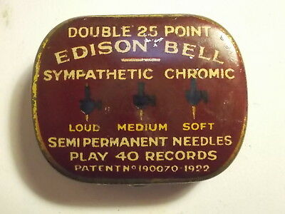 Old Edison Bell Gramophone Needle Tin with Content. VG