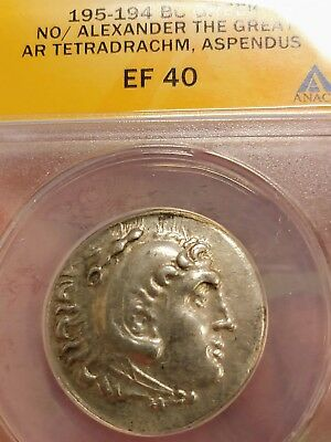 ANACS Ancient Coin Alexander the Great Aspendus Silver Tetra Beautiful Coin !!!