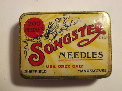 Old SONGSTER Gramophone Needle Picture Tin with Content. VG