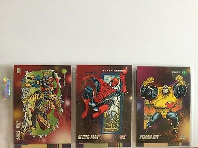 3 trading cards #1 #87 #145 marvel universe 1992 series 3 skybox impel