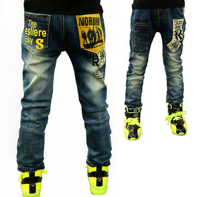 Kids Boys Straight Leg Pants Denim Letters Trousers Elastic Waist Jeans Size 4-9