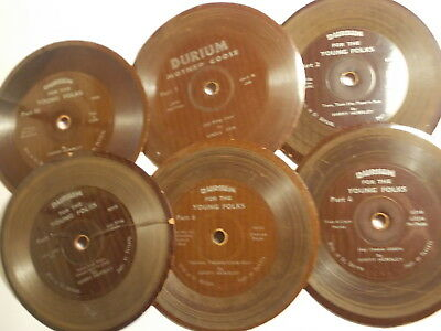 """6 Old Rare DURIUM Flexible 4"""" 1930's Childrens Records. G/VG"""