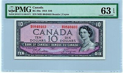 Canada 10 Dollars 1954 BC-40a PMG 63 EPQ Banknote