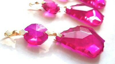 5 Fuchsia Pink 38mm French Chandelier Crystals Suncatchers