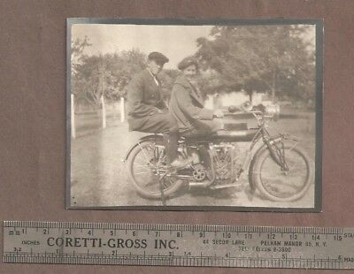 VINTAGE ORIGINAL PHOTOGRAPH INDIAN TWIN CYLINDER MOTORCYCLE circa 1915