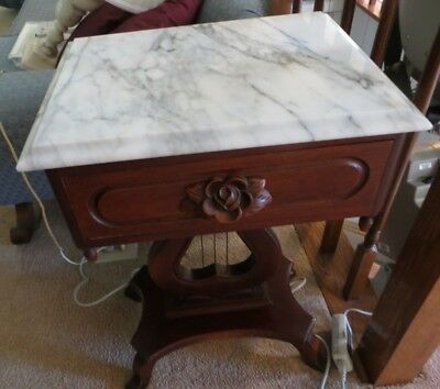 Vintage Italian Marble Top Victorian Harp/lyre Side Table-Rose Carved Detailing