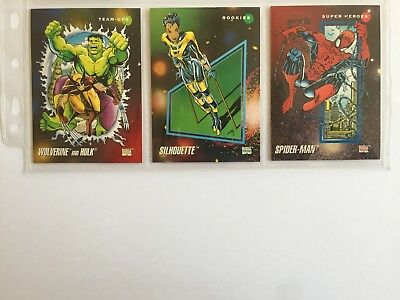 3 trading cards #1 #76 #147 marvel universe 1992 series 3 skybox impel