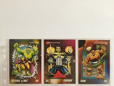 3 trading cards #28 #56 #76 marvel universe 1992 series 3 skybox impel