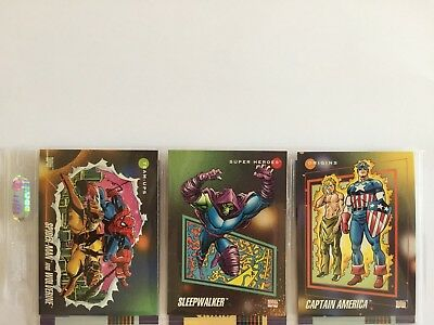 3 trading cards #3 #74 #166 marvel universe 1992 series 3 skybox impel