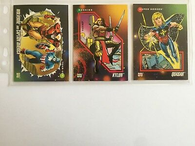 3 trading cards #2 #75 #148 marvel universe 1992 series 3 skybox impel