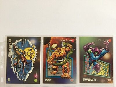 3 trading cards #3 #56 #91 marvel universe 1992 series 3 skybox impel