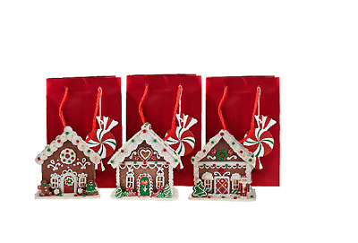 Set of 3 Mini Gingerbread Houses with Gift Bags by Valerie H205282