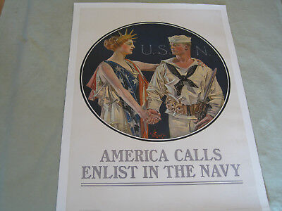 "Original Wwi Poster By Joseph C. Leyendecker ""america Calls Enlist In The Navy!"""