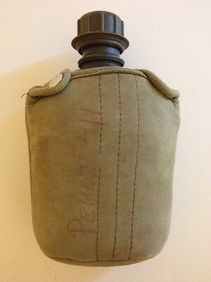 US Military Vietnam 1970 Era Green Plastic Canteen With Green Canvas Pouch