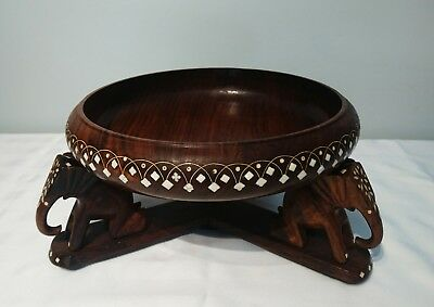 Wooden Bowl Hand Carved Decorative Inlay Elephant Base