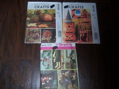 Lot of 3 Autumn Fall Halloween Pumpkin Craft Pattern 5724 5490 3642 Stuffed UCFF