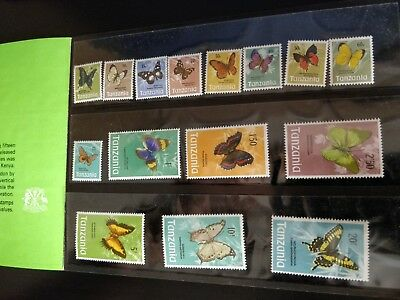 1973 Tanzania Butterflies Stamps - Definitive Issue Book/Series - Set of 15 MNH