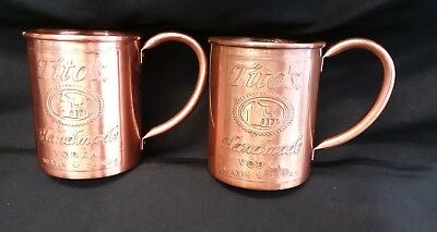 Tito's Handmade Vodka Copper Mugs Set Of 2 For Moscow Mule..
