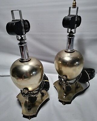 Two Vintage Beautiful Brass? Victorian  Lamps Gilbert Switch Levitown Bulb