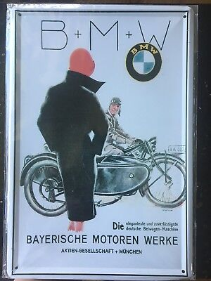 Antique BMW R32 Motorcycle With Sidecar Metal Collectible Sign Advertisement ART