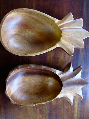 Tiki wooden pineapples set of two - Asia Pacific vintage wooden pineapples