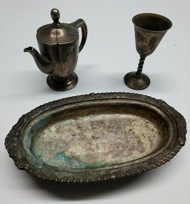 Mixed Lot of 3 Silver Plated Branded Items: Butter Dish, Small Chalice, Creamer