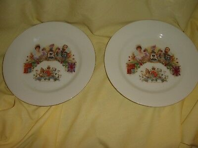 pair of antique vintage bone china plates queen mary king george v tea royal