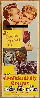 CONFIDENTIALLY CONNIE, 1953, Van Johnson, Janet Leigh:Scarce UNFOLDED US Insert*