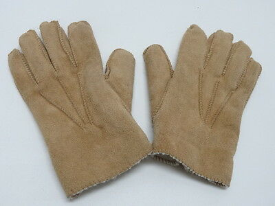 GRANDOE SUEDE LEATHER GLOVES  - BROWN SIZE MEDIUM 8.5 UNISEX in EUC