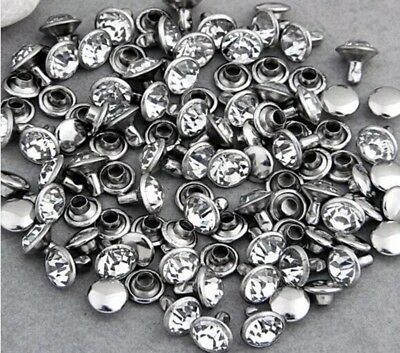 200 Set Rhinestone Rivet Shiny Czech 6mm Crystals DIY (USA SHIPPER)