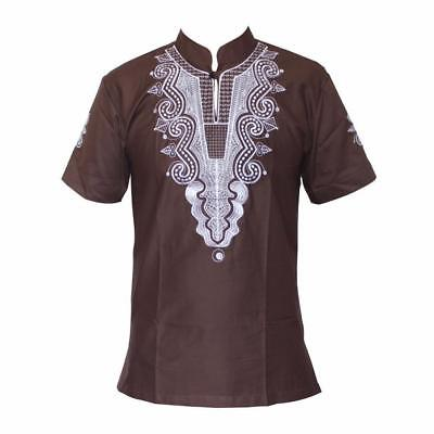 African Cotton Men/Women Embroidery Design Causal T-Shirt 5 colors Y12104