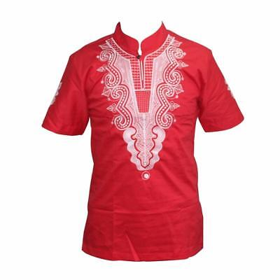 Men Smart Casual Embroidery African Vintage Stand Collar Short Sleeve Tee Top