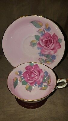 Gorgeous Paragon Cabbage Roses on Pink Teacup and Saucer. England.