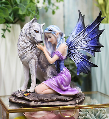 "6.75"" Height Sitting Fairy and Alpha Wolf Figurine Fantasy Collectible Statue"