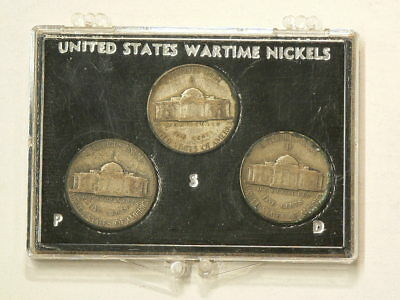 US Silver Wartime Nickels  in Display Case  #1398