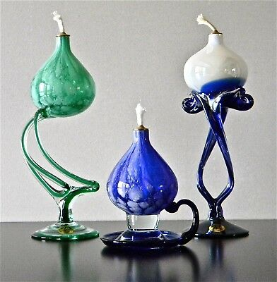 Danube Glass Oil Lamps. Set of 3. From The National Museum Canberra Australia.