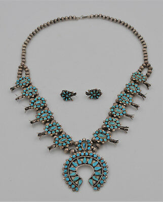 Rare Vintage Zuni Squash Blossom Necklace And Earrings - Needlepoint Turquoise
