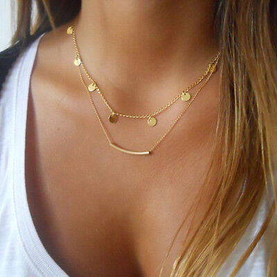 Bohemian Minimalist Multilayer coin Tube clavicle Necklace Women Fashion Jewelry