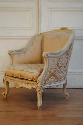 Antique Vintage French Louis XV Bergere Armchair - Silk Damask Upholstery