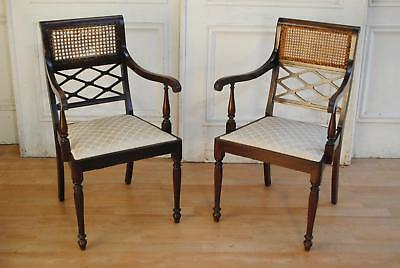 Gorgeous Pr Antique Vintage Regency Sheraton Style Carvers Dining Chairs